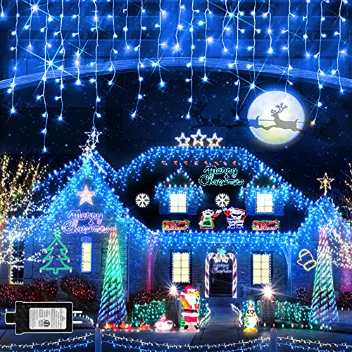 Christmas Lights Outdoor 1280 LED 131ft 8 Modes Super Long IcicleLights with 240 Drop Plug in Waterproof Timer Memory Function Curtain Fairy String Light for Wedding Christmas Thanksgiving Blue