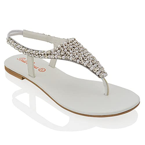94c2e5685 ESSEX GLAM LADIES FLAT DIAMANTE TOE POST SLINGBACK WOMENS PEARL HOLIDAY  DRESSY PARTY SANDALS SIZE 3