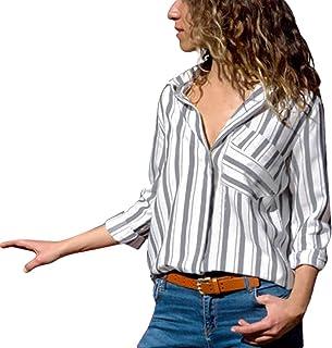 df3e67e35a180 ITISME FRAUEN BLUSE Damen Casual Langarm Farbblock Streifen Button Bluse  Damen Hemd Gestreift Oberteile Casual Chiffon Langarm T-Shirt Top Tunika  Elegant ...