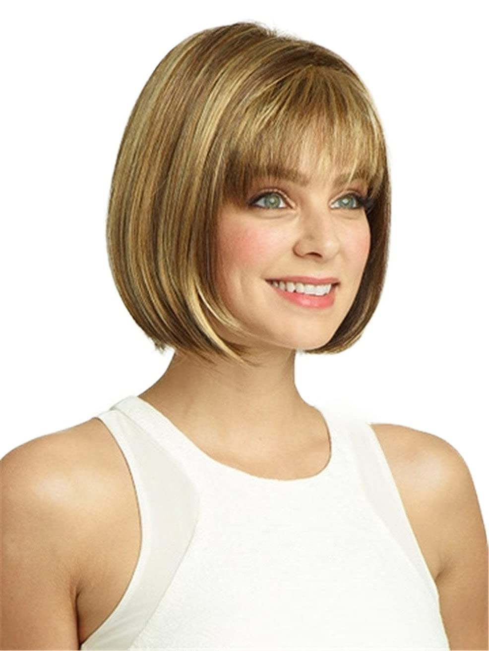 Wigs for White Women Short Straight Hair Wig with Bangs Natural As Real Hair with Wig Cap Z012