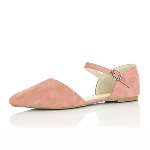 f71b3bfa6 DailyShoes Women s Pointy Toe Flats D Orsay Buckle Ankle Strap Casual  Comfort Ballerina Ballet Flat