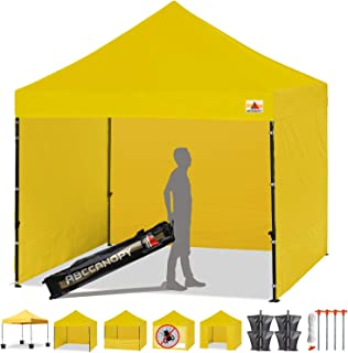ABCCANOPY Canopy Tent Popup Canopy 10x10 Pop Up Canopies Commercial Tents Market stall with 6 Removable Sidewalls and Roller Bag Bonus 4 Weight Bags and 10ft Screen Netting and Half Wall, Yellow