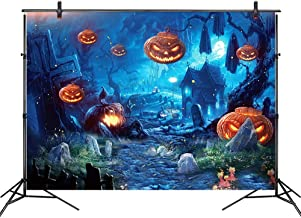 LB Halloween Backdrop for Photography 9x6ft Vinyl Halloween Pumpkin Grave Twisted Tree Backdrop for Halloween Party Decorations Banner Photoshoot Photo Booth Backdrop Props