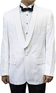 Mens White Shawl Collar Tuxedo Suit Black Pants