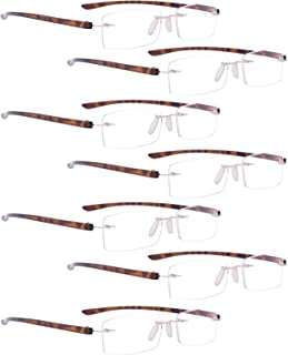 READING GLASSES 7 pack Mix Color Small Lens Rimless Readers