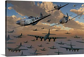 GREATBIGCANVAS Gallery-Wrapped Canvas Entitled B-17 Flying Fortress Bombers and P-51 Mustangs in Flight by Mark Stevenson 48