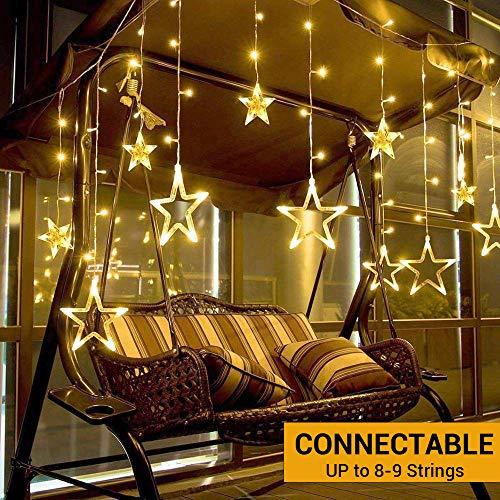 138 LEDs Lichterkette mit 12 Sternen Elegear Warmweiß Sterne Lichtervorhang 2m Innen Sternenvorhang Weihnachten Party Deko 8 Modi Lichter vorhang Festen Kupfer String licht für Fenster Garten und Haus