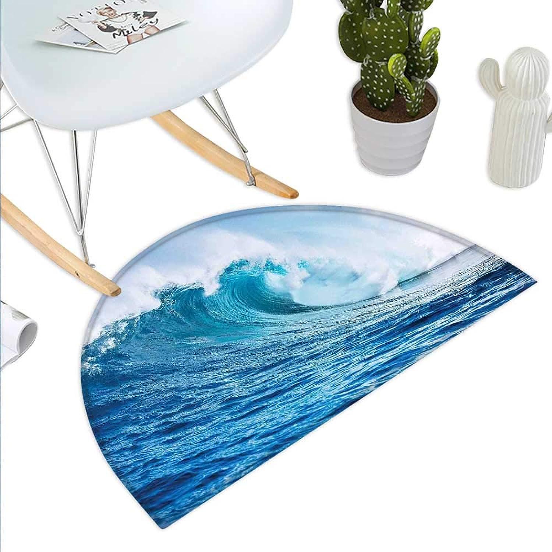 Ocean Decor Semicircle Doormat Large Powerful Pasific Surf Sea Wave Crashes Hard Halfmoon doormats H 43.3  xD 64.9