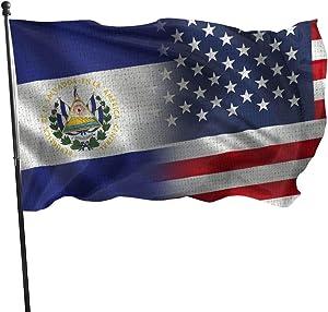 NA Garden Flag Patry Flag Outdoor Flag Garden Flag Funny Table Tennis Outdoor Yard Flag Wall Lawn Banner Home Flag Decoration 3' X 5',Port El Salvador and America Flag