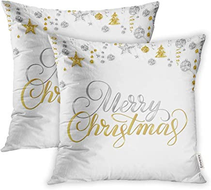 featured product Emvency 20x20 Inch Decorative Set of 2 Throw Pillow Cover Merry Christmas Lettering On White Holiday Sparkling Gold and Silver Border Hanging Square Home Cushion Sofa Two Sides Pillow Case
