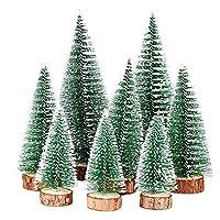 🎄CONFEZIONE: 8pz albero di natale in miniatura mini pino con basa in legno per decorazioni natalizie. (3 * mini pino piccolo + 3 * mini pino medio + 2 * mini pino grande.) 🎄DIMENSIONE: Gli alberi di natale in miniatura hanno 3 dimensioni diverse (alt...