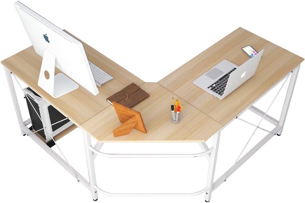 DlandHome Computertisch Eckschreibtisch 150 cm + 150 cm Winkelschreibtisch L-förmig, großer Gaming Schreibtisch Arbeitstisch Bürotisch PC Laptop…