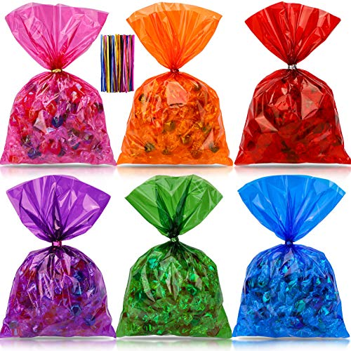 Konsait 180pcs Colorful Cellophane Bags,Mix Holiday Colors Clear Candy Cookie Treat Bags with Twist Ties for Bakery Biscuit Chocolate Snacks Dessert Bread,Holiday Goody Bags, Party Favors Supplies