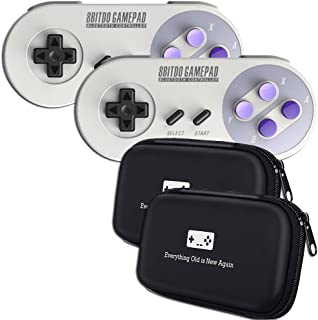 Geek Theory 8Bitdo 8Bitdo SN30 Double-Pack Controller Bundle - Includes Bonus Carrying Cases - Android/Mac/PC/Switch/SNES Classic