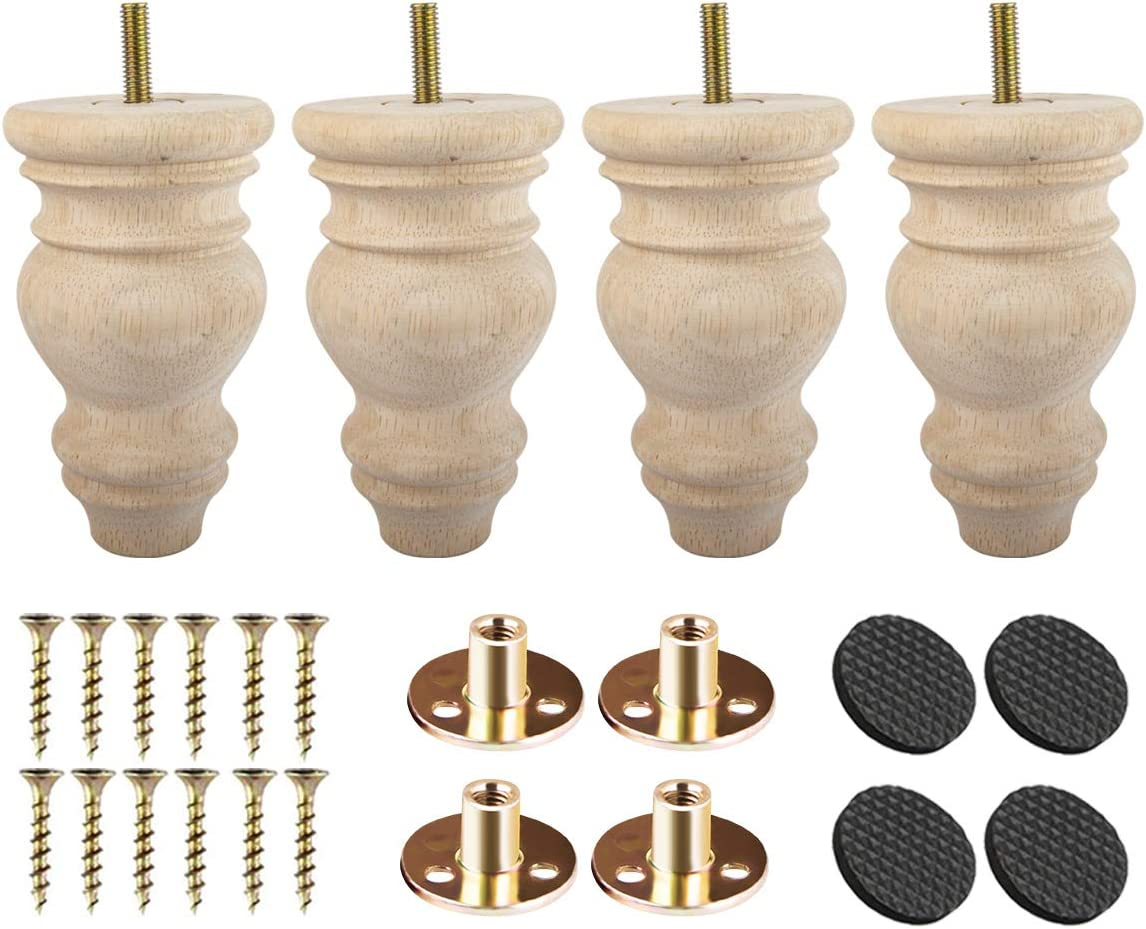 5 inch Unfinished Wooden Bun Feet, Btowin 4Pcs Solid Wood Furniture Legs with Threaded 5/16'' Hanger Bolts & Mounting Plate & Screws for Sofa Couch Chair Ottoman Cabinet