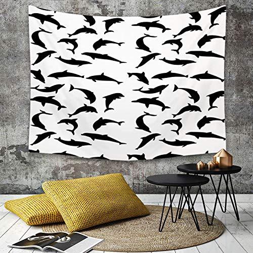 Yaoni Wandtapijt Wandopknoping, Dolfijn, Smart Ocean Zoogdier Silhouetten in verschillende acties springen zwemmen zee dieren, zwart wit, woondecoratie kunst wandtapijten voor slaapkamer woonkamer slaapzaal appartement
