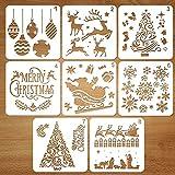Coogam 8 Pcs Christmas Stencils Template - Reusable Plastic Craft...