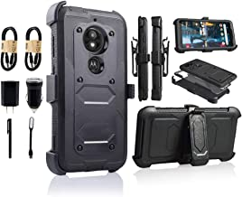 Moto E5 Play Case, Motorola E5 Cruise Holster Clip, Shockproof Heavy Duty Built-in Screen Protector w/Belt Clip Kickstand for Moto E5 Play [Value Bundle] (Black)