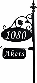 Address America Park Place Oval Reflective 911 Home Address Sign for Yard with Name Rider on Garden Flag Post - Custom Made Address Plaque with Name - Wrought Iron Look Exclusively (47