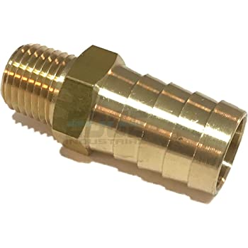 Gas EDGE INDUSTRIAL 1//8 Hose ID to 1//4 Male NPT MNPT Straight Brass Fitting Fuel WOG Qty 1 Water Oil AIR