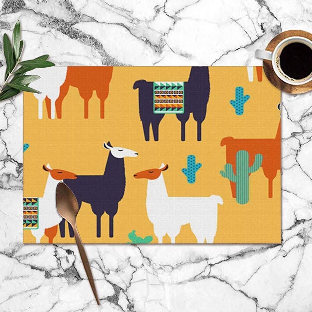 yyndw Placemats Set Lamas Cactus Todos Los Elementos Animales Vida Silvestre Lavable Mesa De Cocina Manteles Individuales Poliéster Mesa De Comedor Impresión Manteles Juego De 6 Manteles 45X30Cm: Amazon.es: Hogar