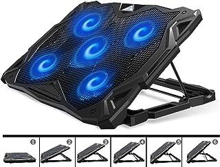 Pccoolerラップトップ冷却パッド、12〜17.3インチのゲーミングラップトップ用の6つの角度調整可能&5つの静かな青色LEDファンを備えたポータブルラップトップスタンド、ラップトップクーラー内蔵デュアルUSBポートがマウスデバイス、キーボ...