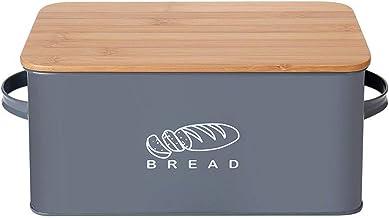 FZYE Boîte à Pain avec Planche à découper en Bambou Couvercle boîte de Rangement en métal Cuisine comptoir bac à Pain poig...