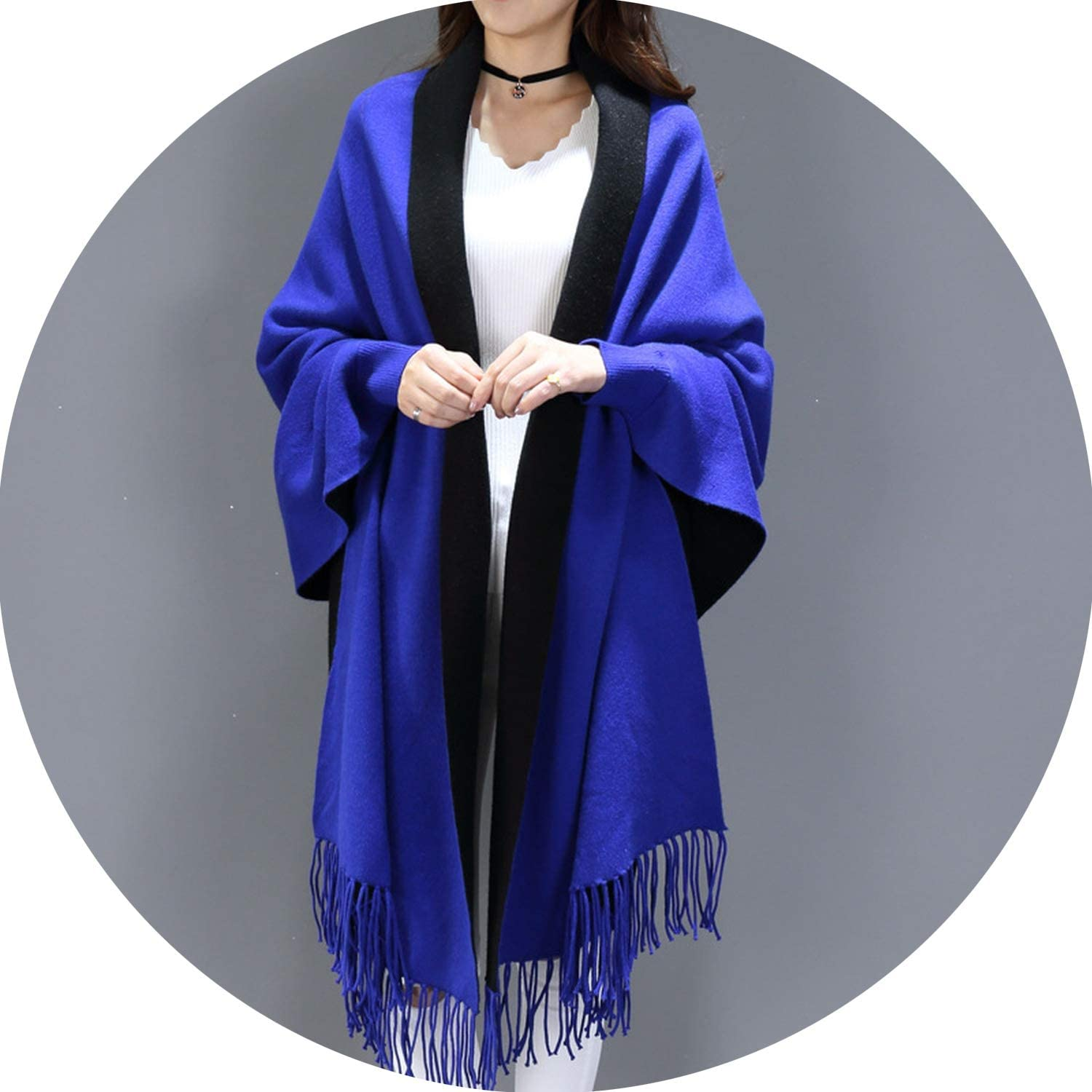 Blanket scarf ladies imitation cashmere cloak mantle coat autumn winter with sleeve shawl scarf,bluee and black,210x70cm