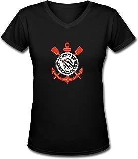 GLYCWH Women's Sport Club Corinthians Paulista T-Shirt V Neck
