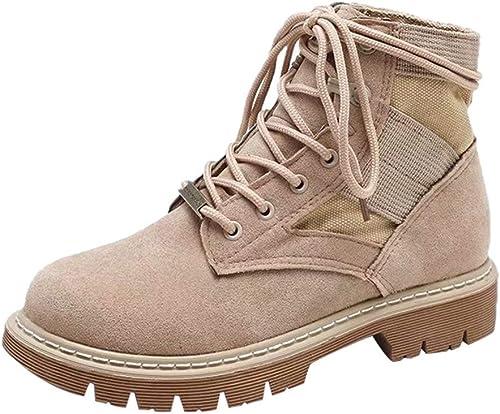 Oudan botas zapatos para mujer zapatos de Gamuza de Punta rojoonda Botines Planos con Cordones botas Martin zapatos Casuales Botines Calzados botas Casual (Color   Caqui, tamaño   39 EU)