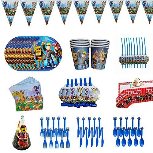 YUIP 94-teiliges Spiel Partyzubehör Set,Party Tableware,einschließlich Banner,Tischdecke,Teller,Tassen,Servietten,Hut,Trinkhalme,Schlag Drachen,Löffel,Gabeln,Messer,Roblox Party Supplies für Kinder