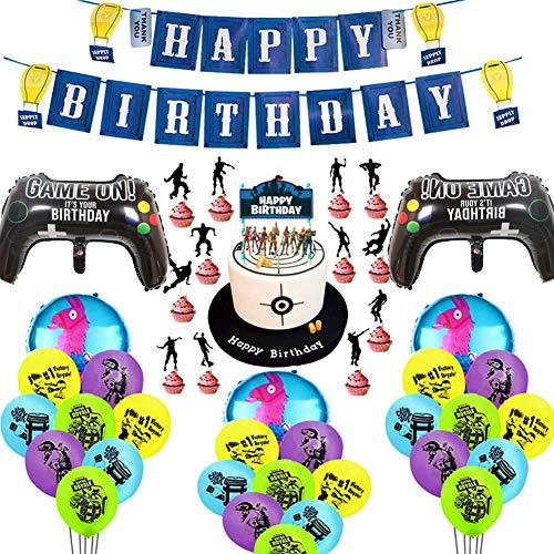 BESLIME Kit di Forniture per Feste di Compleanno per Gli Appassionati di Giochi Decorativi per Party A Tema Giochi–Sono Inclusi Palloncini, Striscione,Carta Torta