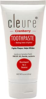Cleure Hypoallergenic Toothpaste - Cranberry - with Baking Soda & Xylitol   Free of Mint, Gluten, Fluoride, SLS   6.2 Oz (183.35 ml)