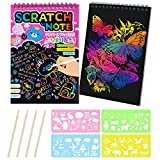 MELLIEX Scratch Art Notes per Bambini, Set di 2 Blocco da Disegno Arcobaleno Scratch Paper con 4 Penne Stilografiche In Legno e 4 Righelli Da Disegno per Disegni, Giochi e Scrittura