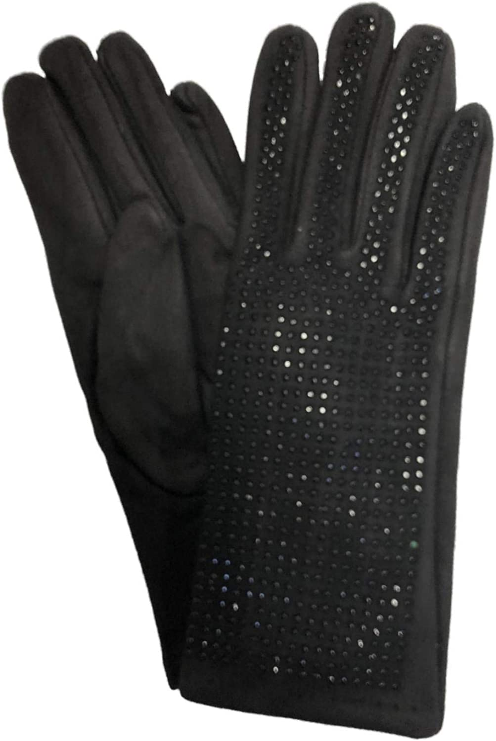 Womens Black Rhinestone Sparkle Stretch Fit Texting & Tech Touchscreen Gloves