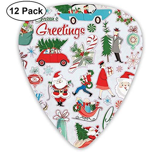 12 Pack Gitaar Picks Plectrums, Vrolijke Kerst Sticker Sheet Celluloid Gitaar Pick Set Verschillende dikte