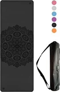 Non-Slip Yoga Mat - Stays Fresh and Odor-Free - Grippy Cushy and Spacious - Made from Best Natural Tree Rubber - Great for...