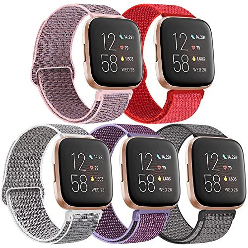 KIBDSNG Correa de repuesto de nailon compatible con Fitbit Versa 2/Versa/Versa SE/Versa Lite, correa de reloj de pulsera tejida transpirable para hombre y mujer, Nailon.,