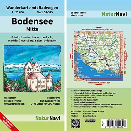 Bodensee Mitte: Wanderkarte mit Radwegen, Blatt 53-529, 1 : 25 000, Friedrichshafen, Markdorf, Salem, Uhldingen, Meersburg, Immenstaad a.B.: ... (NaturNavi Wanderkarte mit Radwegen 1:25 000)