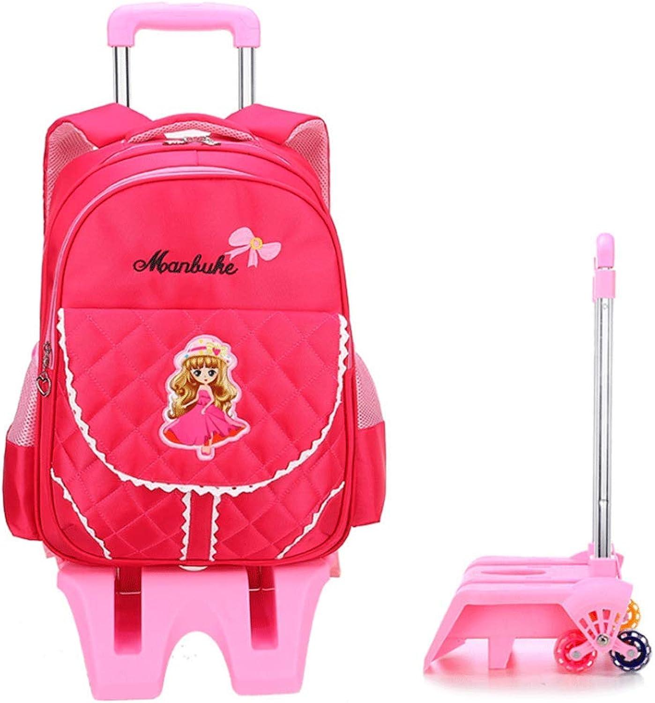 YWZQ Trolley Rucksack für Kinder, Jungen und Mdchen Grundschule Nylon Rucksack Sicher Reflektierende Abnehmbare Dreirad Trolley Rucksack Kann Treppensteigen (6-12 Jahre),C