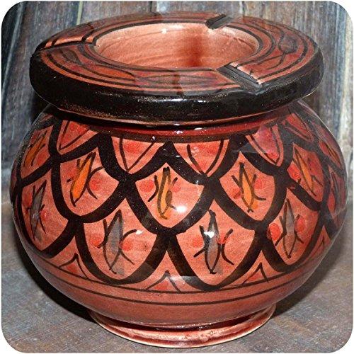 Simandra Marokkanischer Sturmaschenbecher Aschenbecher Keramik Windascher Ascher Orient Deko groß Color Rot