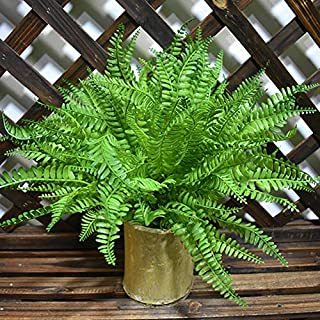 LSKY 4 Pack Artificial Ferns Plants Artificial Shrubs Boston Fern Bush Plant Greenery Bushes Fake Ferns UV Protected for Home Kitchen Garden Wall Decor Indoor Outdoor Use