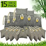 wyewye Activated Bamboo Charcoal Bags for Car Closet Shoe Home Basement 15Packs×100g 8 【GREAT VALUE PACK】Charcoal bags value pack provides 1.5kg of Activated charcoal. Each bag provides more absorbency than the standard 50g bags. Packed in a sealed linen bag with a ring on top for easy hanging on a hanger or hook. Sufficient size for cars, closets and other closed areas 【SUITABLE FOR FAMILIES】 Charcoal bags are made from environmentally friendly micro-porous activated bamboo charcoal, contains millions of tiny porous holes that can create a healthy atmosphere in your home. 【RECYCLABLE WITHOUT WASTE】These charcoal bags are reusable for 2 years! When this charcoal bag is saturated, in order to rejuvenate the bamboo charcoal bag, you need to place the charcoal bag outside in the sun once a month for at least two hours. You can reuse these charcoal bags without waste.