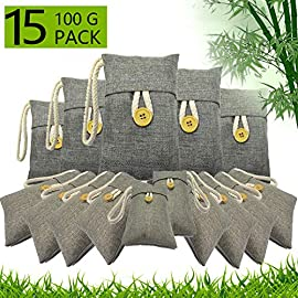 wyewye Activated Bamboo Charcoal Bags for Car Closet Shoe Home Basement 15Packs×100g 12 【GREAT VALUE PACK】Charcoal bags value pack provides 1.5kg of Activated charcoal. Each bag provides more absorbency than the standard 50g bags. Packed in a sealed linen bag with a ring on top for easy hanging on a hanger or hook. Sufficient size for cars, closets and other closed areas 【SUITABLE FOR FAMILIES】 Charcoal bags are made from environmentally friendly micro-porous activated bamboo charcoal, contains millions of tiny porous holes that can create a healthy atmosphere in your home. 【RECYCLABLE WITHOUT WASTE】These charcoal bags are reusable for 2 years! When this charcoal bag is saturated, in order to rejuvenate the bamboo charcoal bag, you need to place the charcoal bag outside in the sun once a month for at least two hours. You can reuse these charcoal bags without waste.