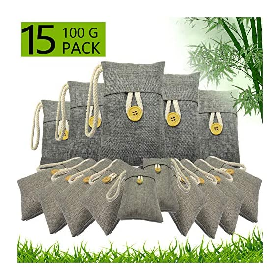 wyewye Activated Bamboo Charcoal Bags for Car Closet Shoe Home Basement 15Packs×100g 1 【GREAT VALUE PACK】Charcoal bags value pack provides 1.5kg of Activated charcoal. Each bag provides more absorbency than the standard 50g bags. Packed in a sealed linen bag with a ring on top for easy hanging on a hanger or hook. Sufficient size for cars, closets and other closed areas 【SUITABLE FOR FAMILIES】 Charcoal bags are made from environmentally friendly micro-porous activated bamboo charcoal, contains millions of tiny porous holes that can create a healthy atmosphere in your home. 【RECYCLABLE WITHOUT WASTE】These charcoal bags are reusable for 2 years! When this charcoal bag is saturated, in order to rejuvenate the bamboo charcoal bag, you need to place the charcoal bag outside in the sun once a month for at least two hours. You can reuse these charcoal bags without waste.