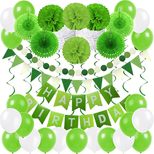 ZERODECO Birthday Party Decoration, Happy Birthday Banner Bunting with 4 Paper Fans Tissue 6 Paper Pom Poms Flower 10 Hanging Swirl and 20 Balloon for Birthday Party Decorations -Green and White