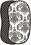 Bacati - Classic Damask White/Black Burpies Set of 2 Pcs