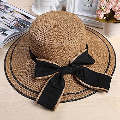 NJJX Sombrero para El Sol con Lazo Negro Grande, Sombreros De Verano para Mujer, Sombrero Plegable De Paja para La Playa, Panamá, Visera De ala Ancha para Mujer, Niña 48-52 Cm, Marrón