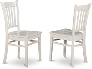East West Furniture Dining Chair Set with Wood Seat, White Finish, Set of 2