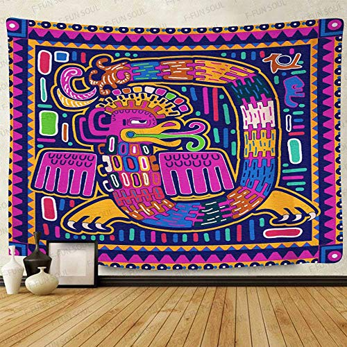 F-FUN SOUL Mexican Huichol Tapestry, 60x40inches Soft Flannel, Aztec Culture Ancient Snake Colorful Art Wall Hanging Tapestries for Living Room Bedroom Decor GTZYFS917